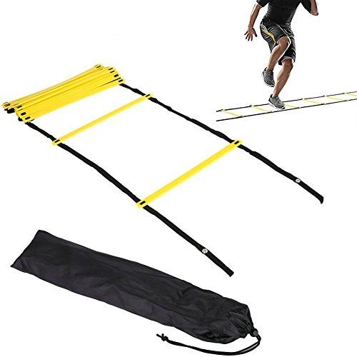 AIQI Speed & Agility Training Ladder for Improving Speed, Agility, Fitness, Leg Strength and More with Black Carrying Bag (Yellow, 12-Rung 20FT)