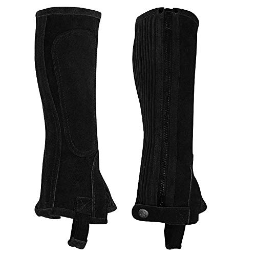 (Perris Zipper Half Chaps - Kids - Size:Large Tall Color:Black)