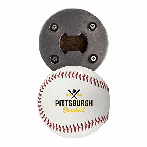 Pittsburgh Bottle Opener, Made from a real Baseball, The BaseballOpener, Cap Catcher, Fridge Magnet