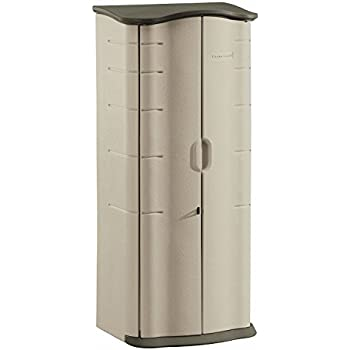 Rubbermaid Outdoor Vertical Storage Shed, Plastic, 17 cu. ft., 2 ft. x 2 ft., Olive/Sandstone (FG374901OLVSS)