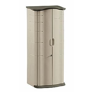 Rubbermaid Outdoor Vertical Storage Shed, Plastic, 17 cu. ft, 2 ft. x 2 ft, Olive/Sandstone (FG374901OLVSS)