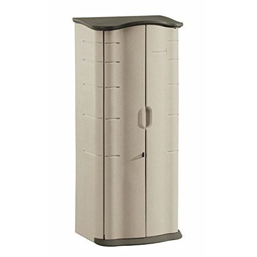 Storage Containers Rubbermaid Outdoor - Rubbermaid Outdoor Vertical Storage Shed, Plastic, 17 cu. ft., 2 ft. x 2 ft., Olive/Sandstone (FG374901OLVSS)