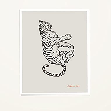 Tiger By The Tail Falling Animals Wall Art Print 11x14