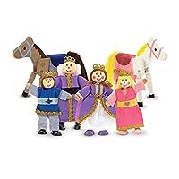 Juego de muñecas Posable de madera Melissa y Doug de la familia real para Castillo y Casa de muñecas (6 piezas) - 4 muñecas, 2 caballos (3-4 pulgadas cada una)