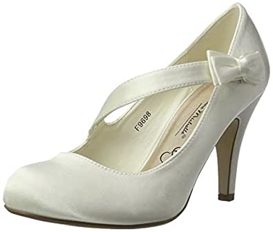 Ajvani Women's Evening Wedding Prom Party High Heel Classic Pumps Size 5 36 Ivory