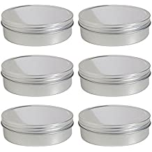 8 oz Metal Steel Tin Flat Container with Tight Sealed Twist Screwtop Cover (6 pack)