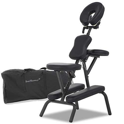 - Massage Chair Portable Massage Chairs Tattoo Folding Chairs High-Density Sponge Height Adjustable Face Cradle Light Weight Travel Spa Seat W/Carring Bag (Black)