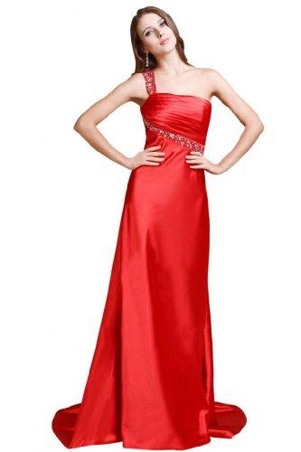 Line abito sera Sexy raso Dress A da Prom spalla una Red Sunvary OYq4npWp