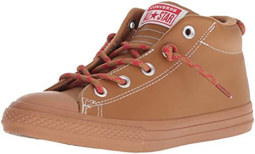 Converse Boys' Chuck Taylor All Star Leather Street Mid Sneaker, Burnt Caramel, 6 M US Big ()