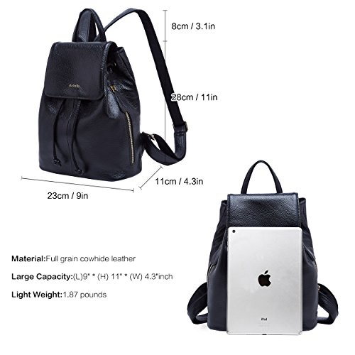 02 Black Backpack Shoulder Elegant Leather Bag Ladies for Travel Women Genuine BOYATU School g7PpF