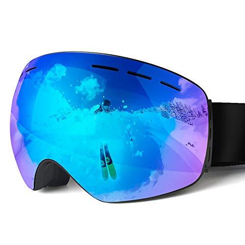 NAFFIC Lunettes de Ski, Lunettes de Neige Lunettes Vent Protection 100% UV, protéger des Vents, de la Neige, de la lumière Forte pour Les Sports de Surf des neiges en extérieur Vélo Moto Motoneige