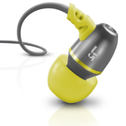 JLab Audio  J5 Metal Earbuds Style Headphones, GUARANTEED FOR LIFE - Sport Yellow/Gray