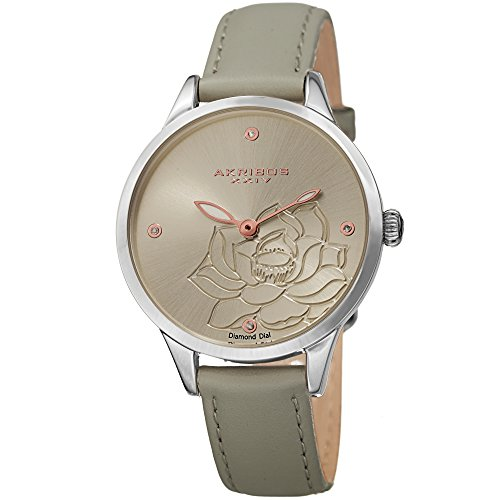 Time Grey Dial - Akribos XXIV Women's Diamond Accented Flower Engraved Dial Grey Leather Strap Watch - Packed in a Beautiful Gift Box, Perfect for Mothers Day - AK1047GY