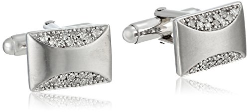 Cuff Silver Diamond (Sterling Silver Diamond Men's Cuff Links (1/2 cttw))
