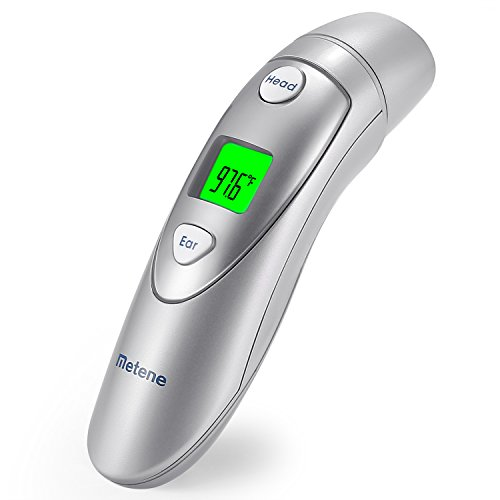 Metene Medical Forehead and Ear Thermometer,Infrared Digital Thermometer Suitable for Baby, Infant, Toddler and Adults with FDA and CE Approved by Metene