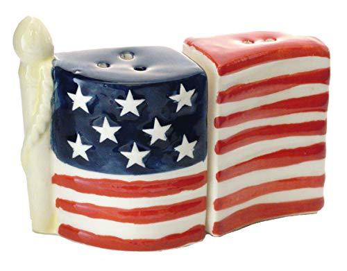 American Flag Patriotic Ceramic Salt & Pepper Shakers