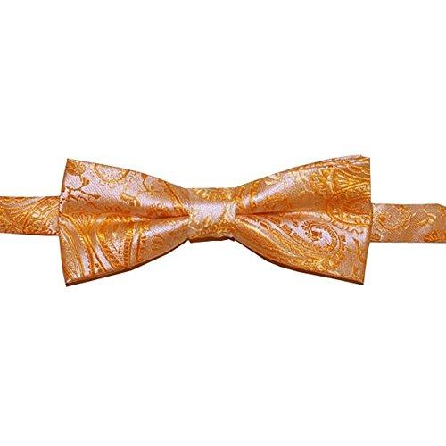Boys Pretied Bow Tie Peach Gold Paisley