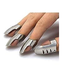 4pcs/Set Stainless Steel Finger Hand Guard Finger Protector Knife Slice Chop Safe Slice Cooking Tools (Size : 15 * 27mm(D*L))