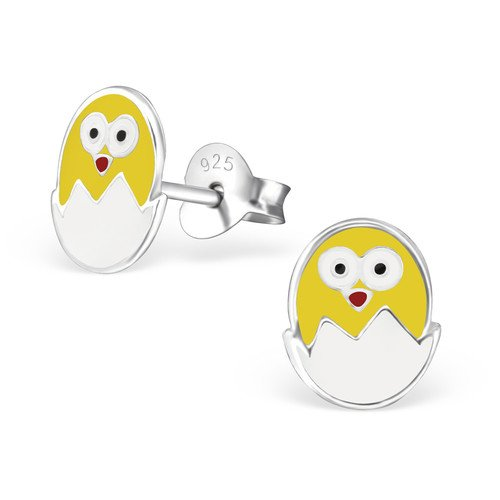 Girls Egg And Chick Colorful Ear Studs 925 Sterling Silver