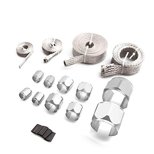 Bang4buck 4 Pieces Fuel Hoses Sleeve Clamp Stainless Steel Braid Hoses Engine Vacuum Fuel Heater and Radiator Sleeving Kit- HSK1001 ()