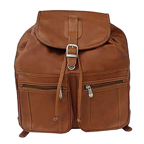 Piel Leather Camera Bag - Piel Leather Drawstring Backpack in Saddle