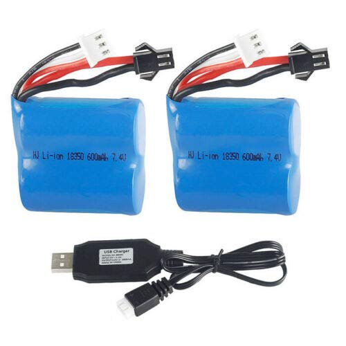 - Gecoty 2Pcs 7.4V 600mAh 15C Lipo Battery & Charger Cable for Skytech H100 H102 RC Boat
