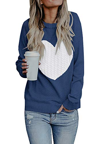 Bbalizko Womens Casual Pullover Sweater Crew Neck Long Sleeve Heart Printed Knit Sweater Tunic Tops (X-Large, Navy) ()