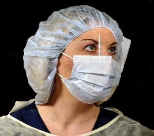 DUKAL Corporation 1560 Surgical Mask with Fluid Shield, with Ear Loop, Blue