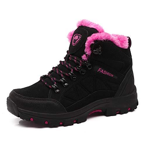 Damen Boots pink Hiking Winterschuhe Warm Wanderschuhe Gefüttert 35 Winter Outdoor FOGOIN Trekking Schwarz Wasserdicht Herren 45 qwRnEXZ