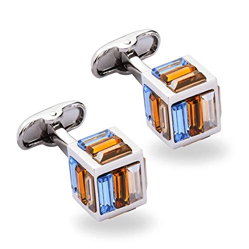 (Je&Co Crystal Cufflinks Cube Design, 5 Side Glittering Crystal Cuff Links with Gift Box (Orange))