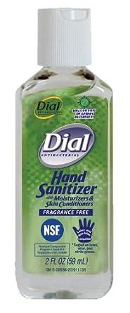 Dial 00688 Sanitizer Fragrance Free, 2 oz, (Case of 24)