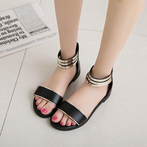 Sentao Bohemia Moda Sandalias de verano Zapatos Peep-dedo Sandalias Romanas Señoras Flip Flops Negro