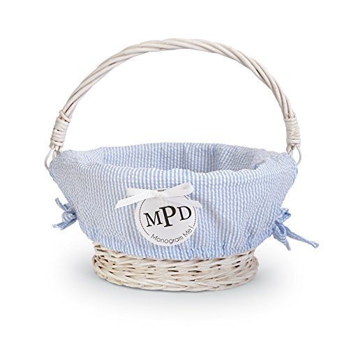 Mud Pie Easter Baby Boy Blue Or Girl Pink Seersucker Wicker Basket (Blue Small) (Baskets Blue Wicker And White)