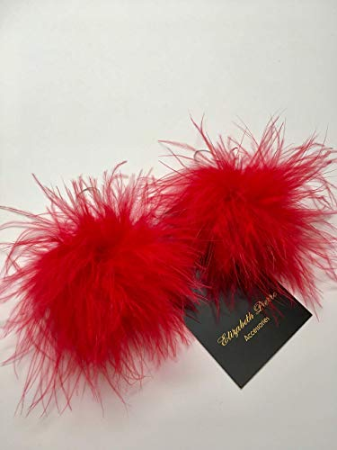 Red Feather Puff Pom Pom Dangle Earrings Bohemian Summer Fun, Gift for women ()