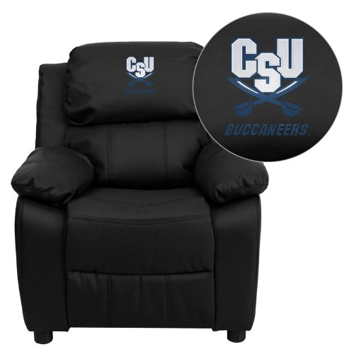 Flash Furniture Charleston Southern University Buccaneers Embroidered Black Leather Kids Recliner with Storage Arms ()