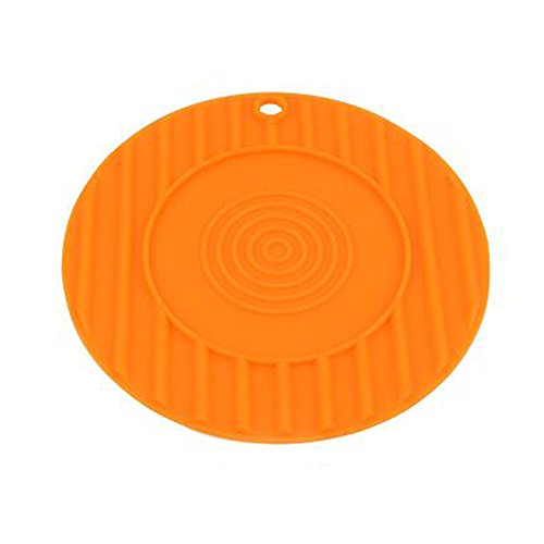 G Field Round Shaped Silicone Pot Cup Bowl Drinks Heat-Resistant Mat Pad,Non Slip Flexible Durable Modern Home Decor Pot Holder Coasters Mat,Jar Opener,Spoon Rest,Tableware Insulation Pad (Orange)