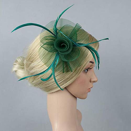 Flower Feather Fascinator Net Hair Clip Wedding Women Races Tea Party Church Hat (Color - Dark Green) ()