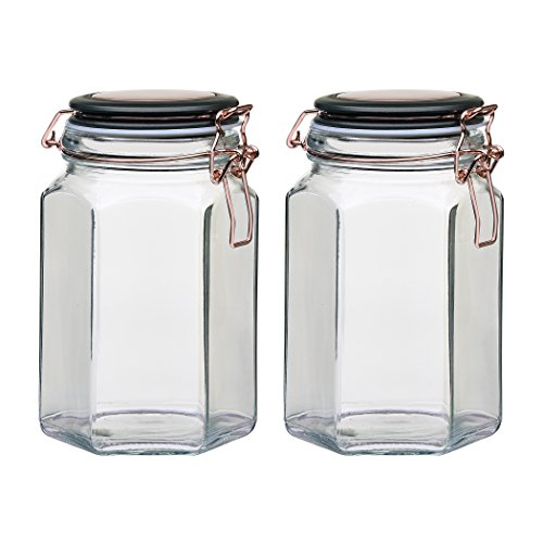 Amici Home 7CN138S2R Collection, 7CN137S2R, Adler Hermetic Preserving Glass Canister, Set of 2, Medium, Clear/Black/Copper
