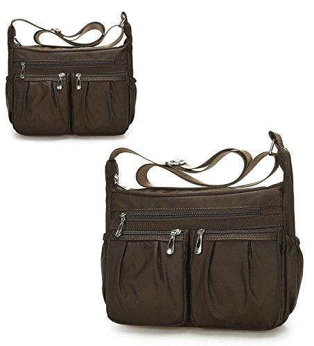 Shoulder Easy Pocket Bag Clean BEKILOLE Bag Purse Resistant Brown Messenger Designer Crossbody Nylon Weather Multi to BnH7pq8En