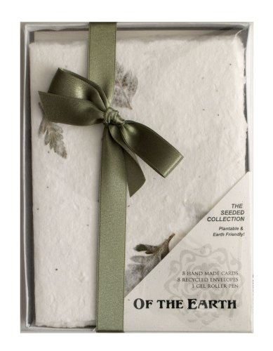 Handmade Seeded Plantable Boxed Note Cards Set of 8 Leather Fern
