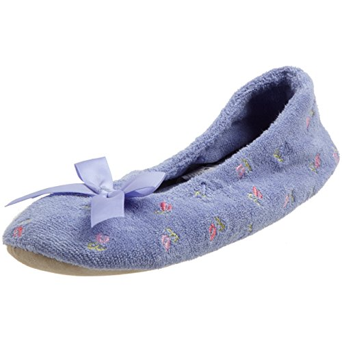 ISOTONER Women's Embroidered Terry Ballerina Slipper (Large, Periwinkle)