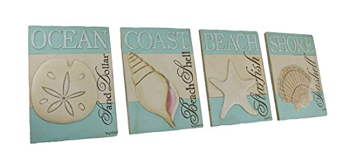 Set Of Four 3d Textured Seashell Themed Resin Tile Wall Plaques Home Garden Decor Decorative
