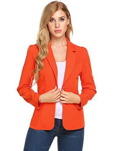 GEESENSS Women's Long Sleeve Open Front Asymmetrical Hem Casual Blazer Jacket (Orange Red, (Navy Blazer)