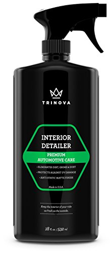 Interior Quick Detailer – Stain Remover, Dashboard Cleaner and Protectant, Car Vinyl, Rubber, Leather Cleaning tool. 18oz TriNova