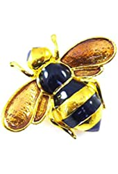 Brooches Store Small Black Enamel and Gold Bee Brooch