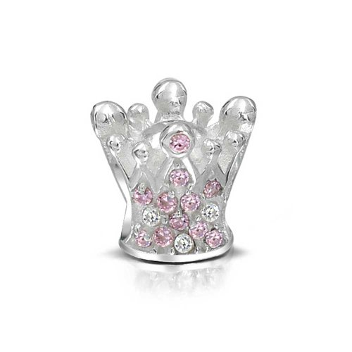 Princess Queen Crown Royalty Pink Fuchsia Crystal Bead Charm 925 Sterling Silver Bead For European Bracelet For Women
