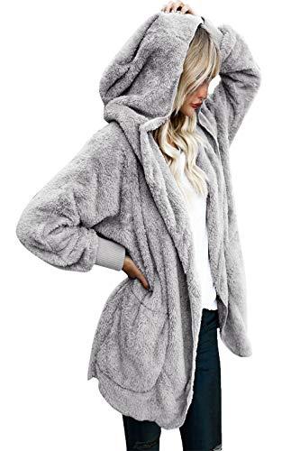 Yanekop Womens Winter Open Front Loose Hooded Fleece Sherpa Jacket Cardigan Coat(Grey,3XL)