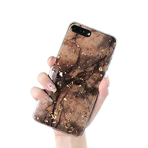 London Quilted Handbag - Gold Foil Bling Marble Phone Case for iPhone X XS Max XR Soft TPU Cover for iPhone 7 8 6 6s Plus,Brown,for iPhone 8 Plus