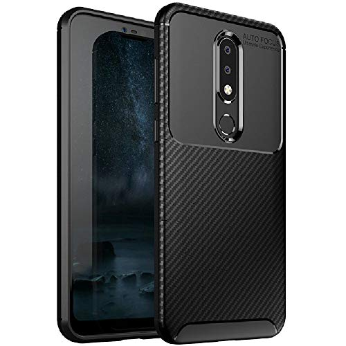 FINON Carbon Design Model [ TPU ] for Nokia 6.1 Plus Case/Nokia X6 (2018) Case - Fingerprint Prevention Function and Lightweight Soft case, Shock Resistance - Black