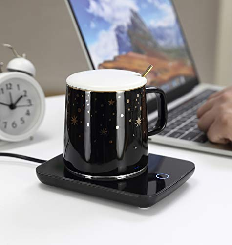 Misby Coffee Warmer for Desk with Auto Shut Off Electric Coffee Mug Warmer Set for Office Home Desk Use, Cup Warmer With Mug for Coffee, Milk, Tea, Water, Christmas/Birthday Gift(Black)